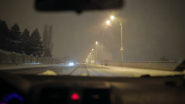 Car being driven on a snowy night. video