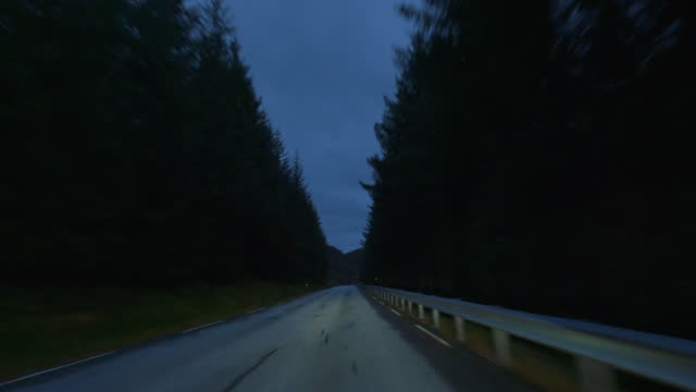 POV car by the fjords of Norway: twilight night driving