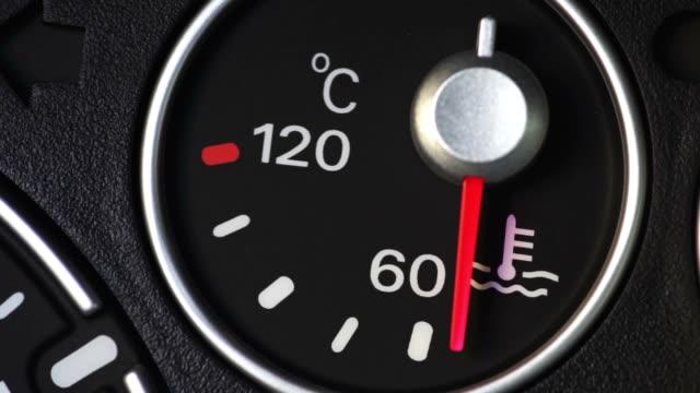 vidéos et rushes de indicateur de température de liquide de refroidissement voiture - température
