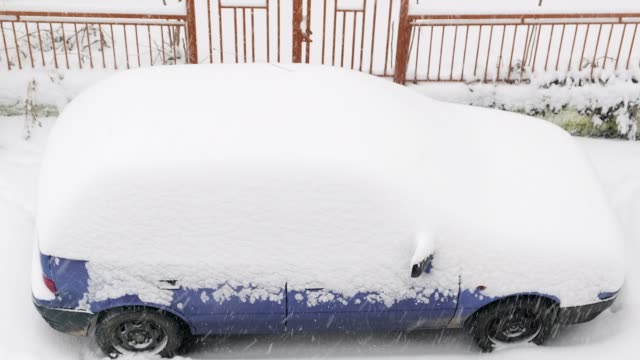 A car covered with snow during the snowstorm video