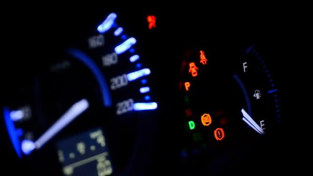 Car dashboard at night video