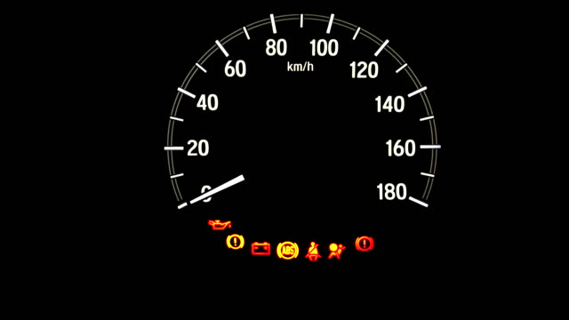 Car dashboard during start engine