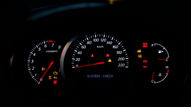 Car dashboard during start engine Car dashboard during start engine on the darkness dashboard vehicle part stock videos & royalty-free footage
