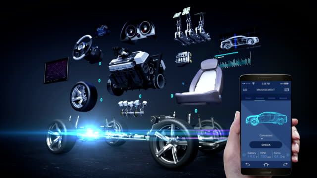 Car diagnosis management application using mobile, smart phone, Vehicle parts,Engine, safety seat, Instrument panel, navigation, Accelerator pedal, car audio video system, tires video
