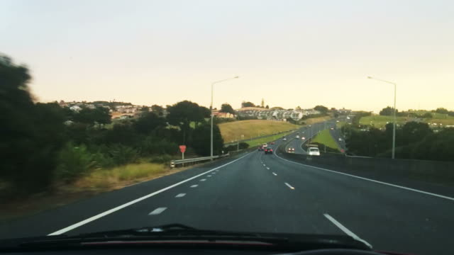 Car drive during rush hour to Auckland New Zealand video