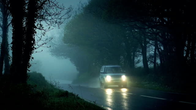 Car Drives Through Misty Countryside In The Rain video