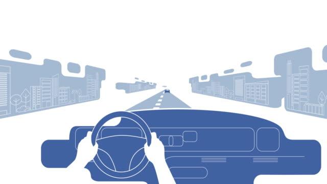 auto guida - illustrazione video stock e b–roll