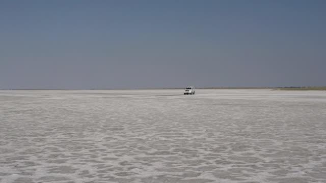Car driving across the Makgadikgadi Salt Pans, Botswana Car driving across the Makgadikgadi Salt Pans, Botswana makgadikgadi pans national park stock videos & royalty-free footage
