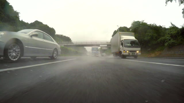 Car driving at rainy highway -rear view -4K- video