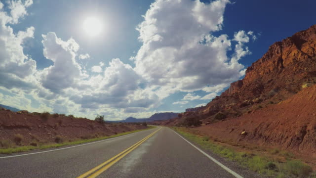 POV car driving in the canyon of USA POV car driving in the canyon of USA angle stock videos & royalty-free footage