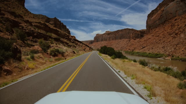 POV car driving in USA Southwest: adventures in the Colorado canyons