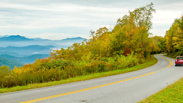 Car Driving on Beautiful Blue Ridge Parkway in Fall video
