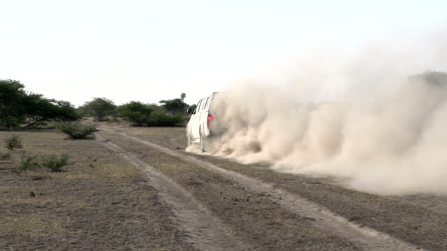 Car driving on dusty track in the African bush, Botswana Car driving on dusty track in the African bush, Botswana makgadikgadi pans national park stock videos & royalty-free footage