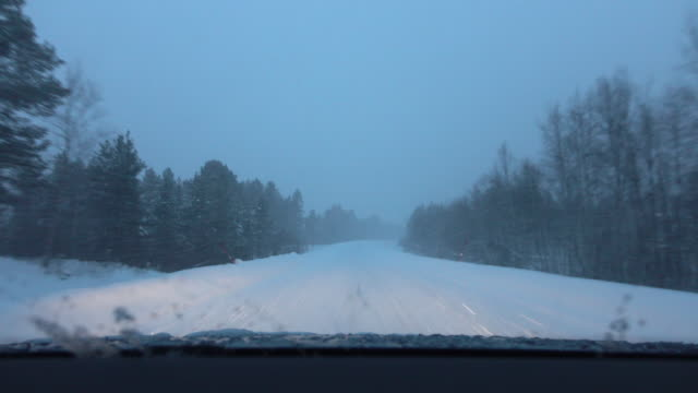 POV: Car driving on snowy country road in bad weather during snowstorm, Finland video
