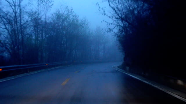 car driving on the mountain road with fog at night - trees in mist stock videos & royalty-free footage
