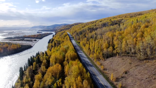 car driving on the richardson highway, alaska, usa - grandangolo tecnica fotografica video stock e b–roll