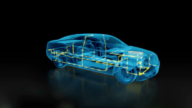 Car Electric System x-ray 3d car inside