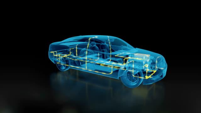car electric system x-ray 3d car inside - carica elettricità video stock e b–roll