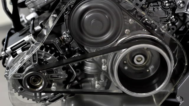 car engine belt and gears detail video