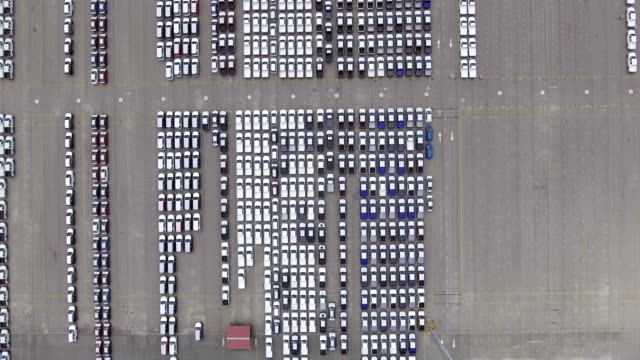 Car import, car line up, containers, ship, industrial port video