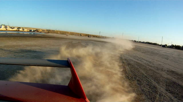 Car is drifting on sand surface video