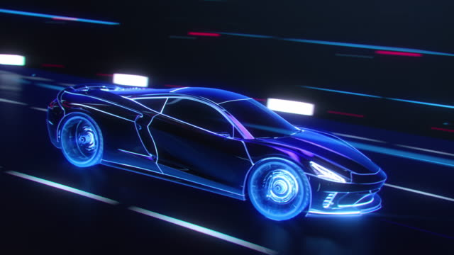 3D Car Model: Detailed Silhouette of Sports Car Driving at High Speed, Racing Through Tunnel into the Light. Blue Supercar Made of Blue Lines Driving Fast on Highway in Tron Style. VFX Special Effect