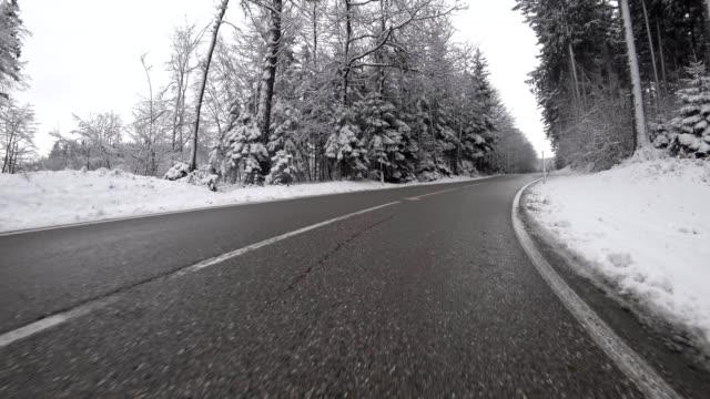 Car POV: on an Austrian mountain road in winter video