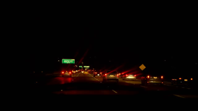 Car POV on highway in USA at night in 4k slow motion 60fps