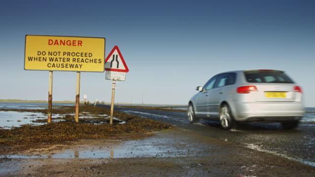 Car on Lindisfarne Causeway video
