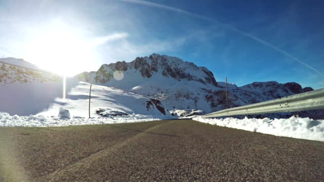 Car Onboard Camera on mountain pass with snow video