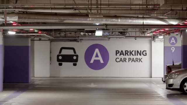 LED Car Park Signs Underground garage LED signs car rental stock videos & royalty-free footage