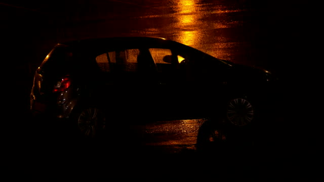 Car Parked In The Rain At Night video