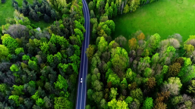 Car passing highway aerial view video