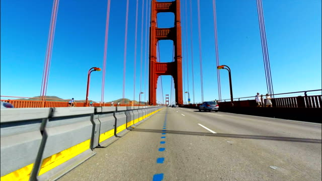 Car point of view of the Golden Gate Bridge in San Francisco CA Car point of view of the Golden Gate Bridge in San Francisco CA western usa stock videos & royalty-free footage