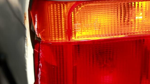 Car rear light broken from accident