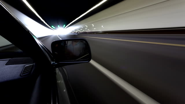 car running in tunnel in high speed,timelapse video