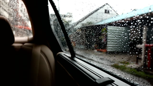 Car scene in rainy day