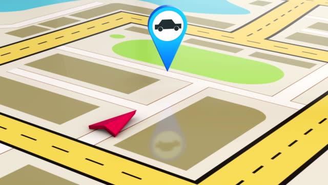 stockvideo's en b-roll-footage met auto service en navigatiekaart video - roadmap