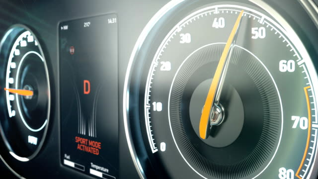 Car speedometer gaining speed, dangerous fast driving, sports race, acceleration video