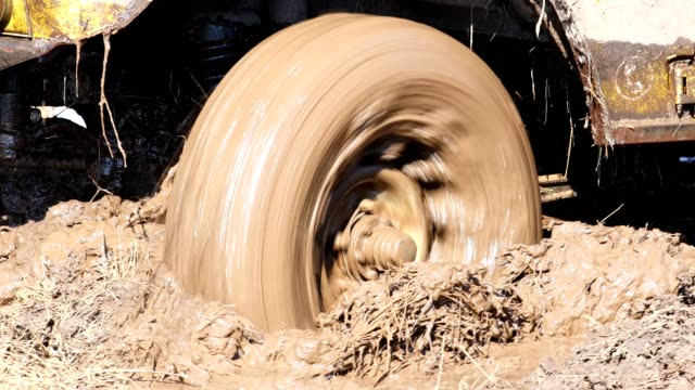SUV 4WD car stuck in muddy off-road. Closeup the wheel rotates in the mud. SUV 4WD car stuck in muddy off-road. Closeup the wheel rotates in the mud. mud stock videos & royalty-free footage