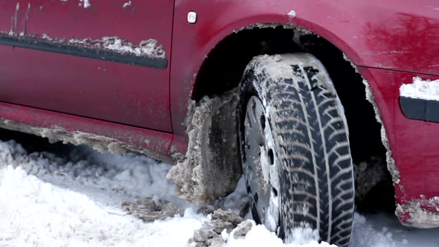 Car stuck in the snow. Snow element. video
