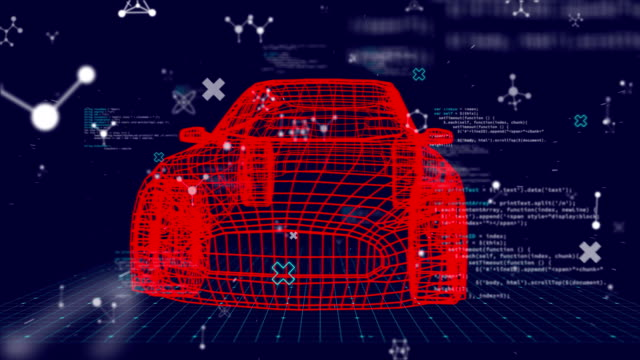 3D car technical drawing with data processing on dark background