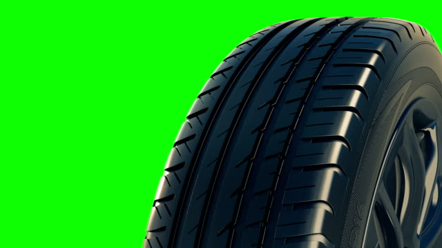 Car tyre summer wheel rotate motion isolate green