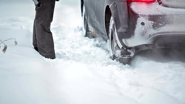 Car tyres rotation in snowdrift video