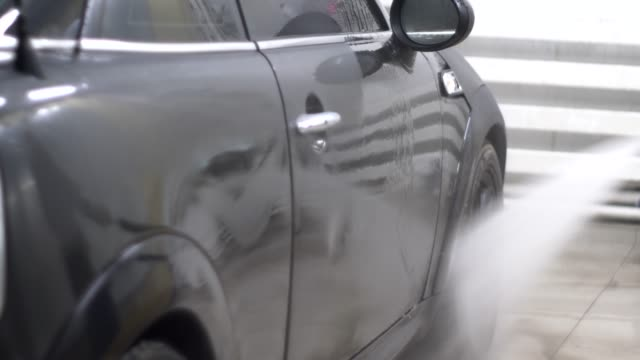 Car Wash, washer Washes the Machine with High Pressure video