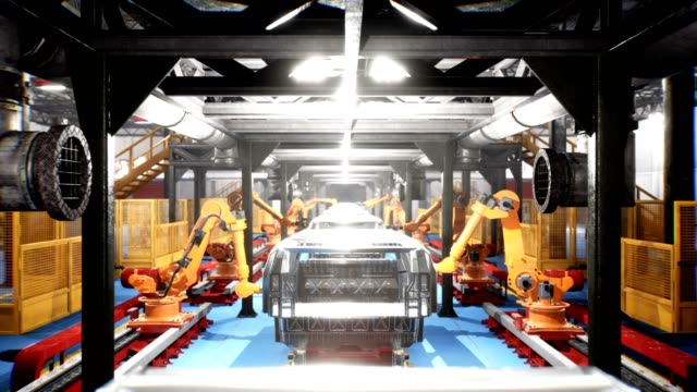 car welding line of conveyor with frameworks of unfinished cars and robots welders - automatico video stock e b–roll