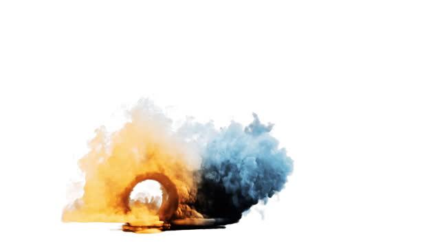 Car wheel colored smoke, seamless loop, white background