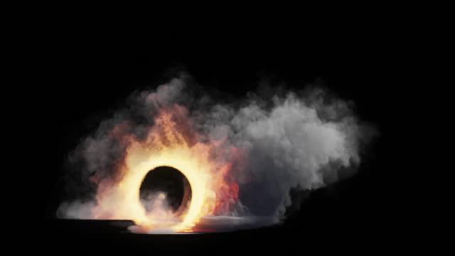 Car wheel on fire, seamless loop, Luma Matte