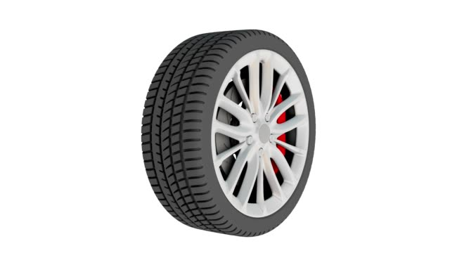3D car wheel rotates on white background video