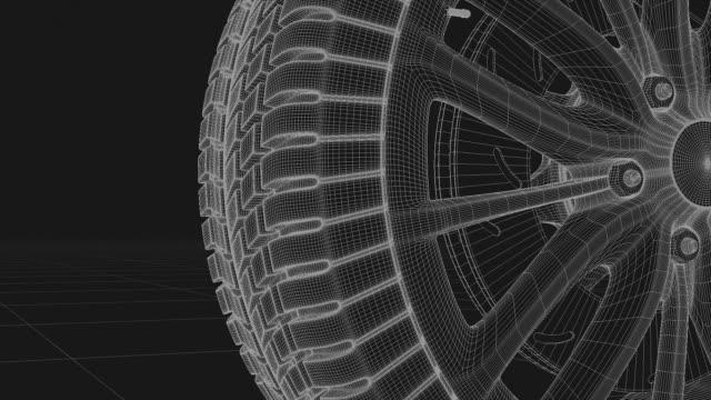 3d car wheel rotates on white background - lega metallica video stock e b–roll